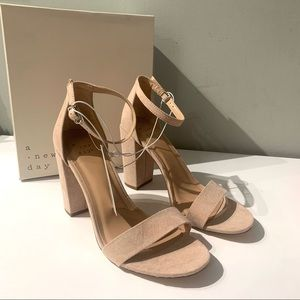Blush pink block heel sandals NWT